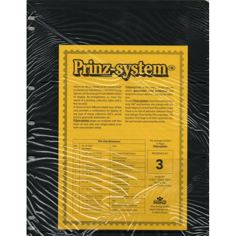 3 strip Prinz System Stock sheets -  single sided 7 hole punched