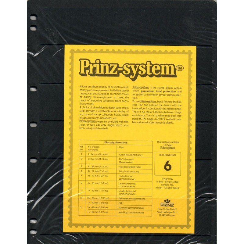 6 strip Prinz System Stock sheets -  single sided 7 hole punched