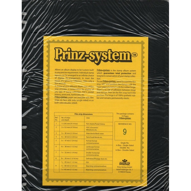 3 strip combi Prinz System Stock sheets -  single sided 7 hole punched