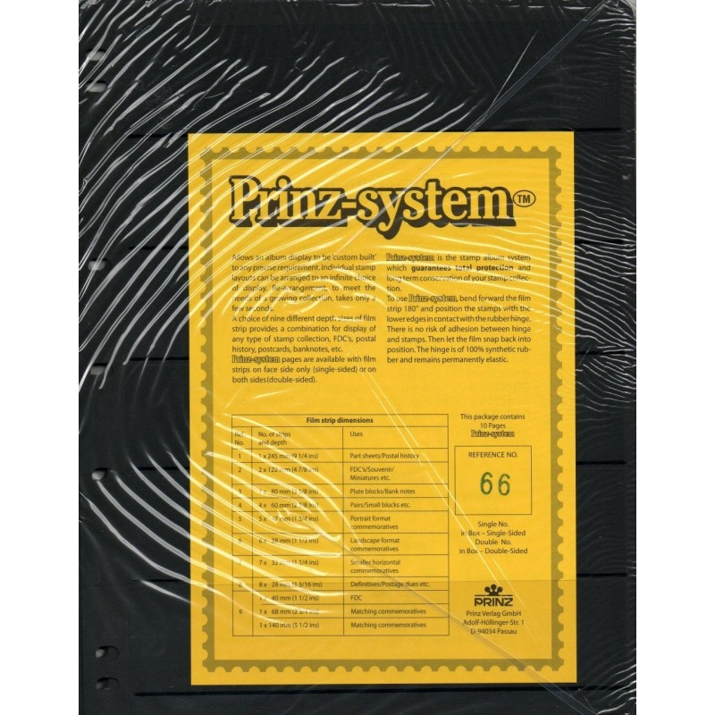 6 strip Prinz System Stock sheets -  double sided 7 hole punched